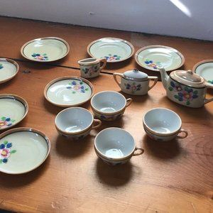 Vintage Lustreware Children's Tea Set - 19 Pieces